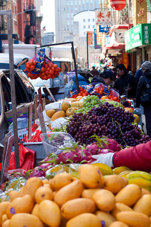 Fruit stand on Mulberry Street in Chinatown